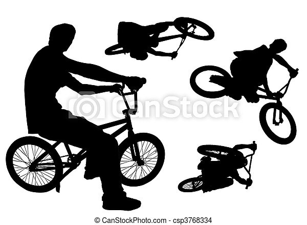 Four bmx action silhouettes isolated on white.