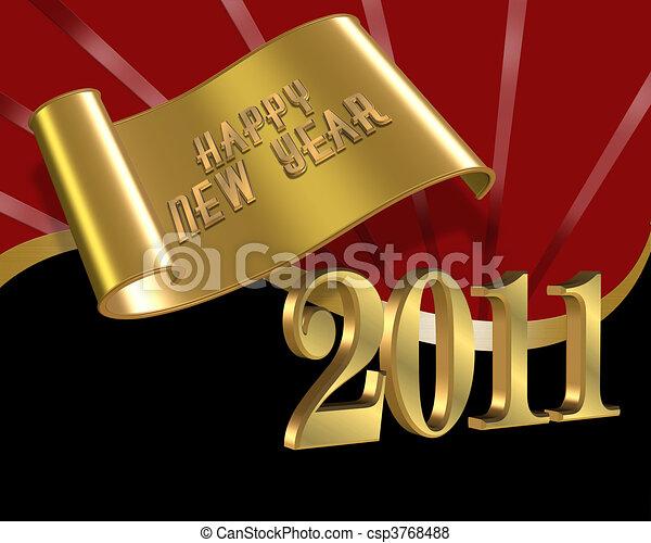 Happy New years eve 2011 red black - csp3768488