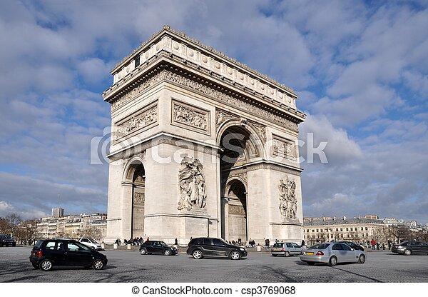 The Arc de triomphe in Paris - csp3769068