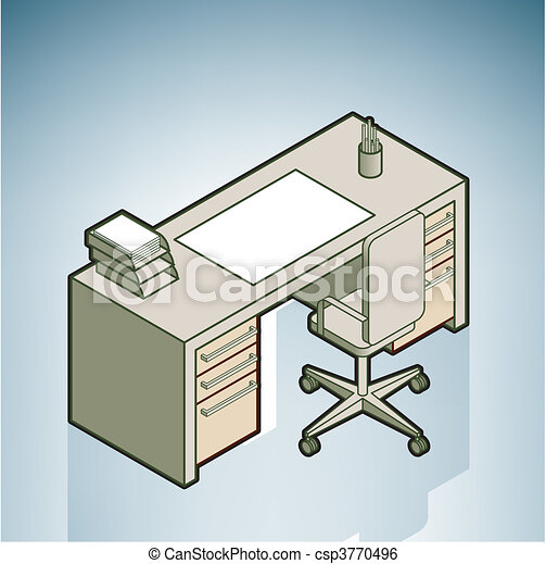 Clip Art Vector of Office Desk part of the Modern Furniture Isometric ...