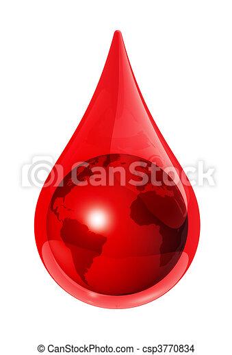 Earth globe in a blood drop - csp3770834