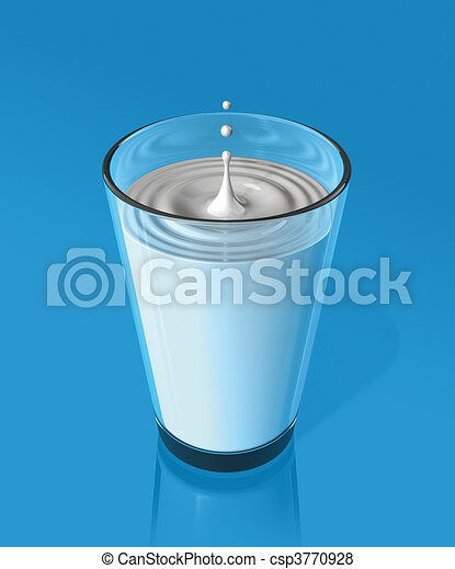 drop of milk and ripple in a milk glass - csp3770928