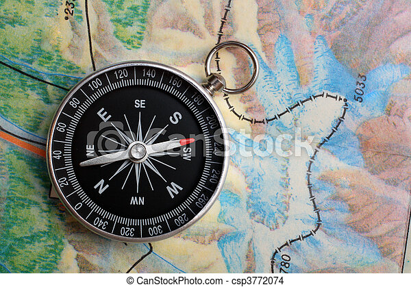 compass on geography map - csp3772074