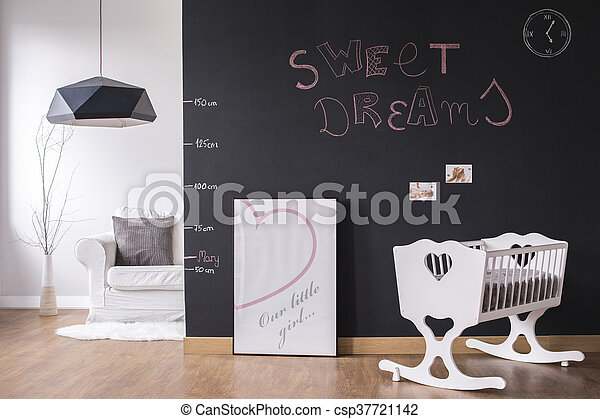 Modern nursery space with cradle - csp37721142