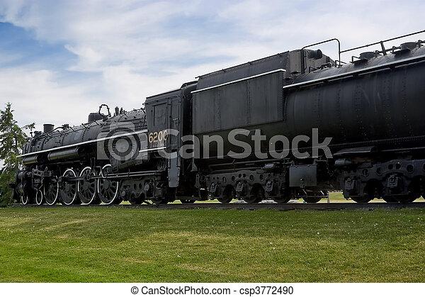 Vintage Historic Steam Train Engine - csp3772490