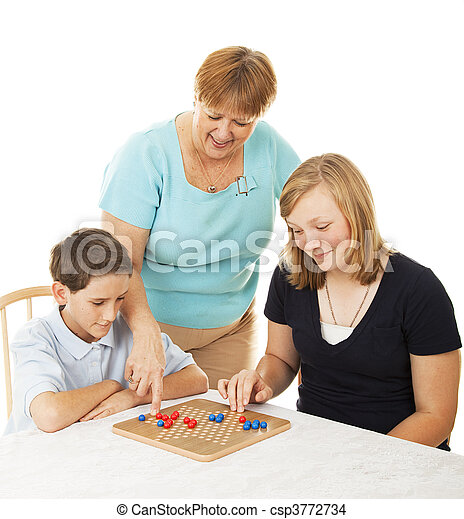 Family Board Game - Mom Helps - csp3772734