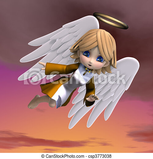 cute cartoon angel with wings and halo. 3D rendering - csp3773038