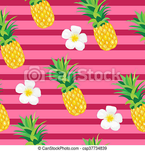Pineapple with Exotic Flowers Seamless Pattern. Tropical Summer Illustration for wallpaper, background, wrapper or textile - csp37734839