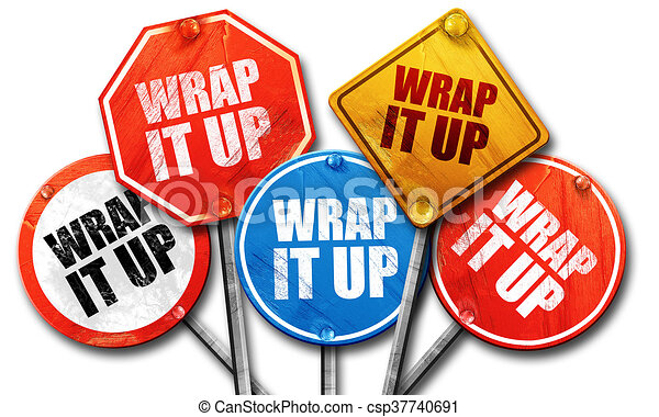 wrap it up, 3D rendering, street signs - csp37740691