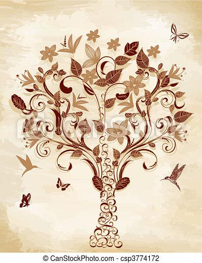 Tree on papyrus - csp3774172