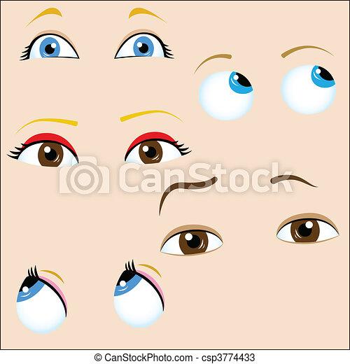 Set of 5 cartoon eyes.  - csp3774433