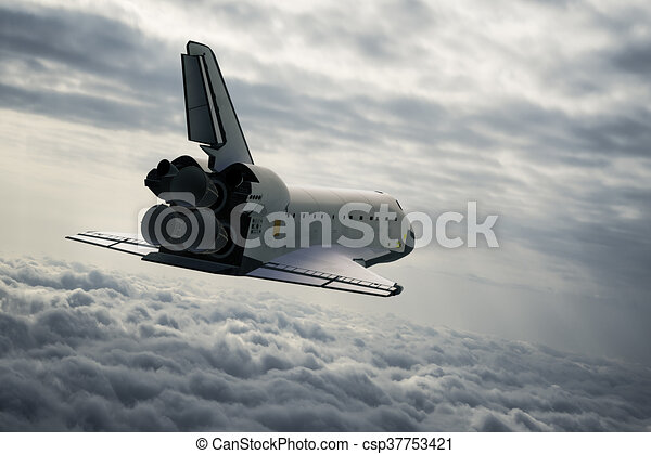 Space Shuttle In The Clouds - csp37753421