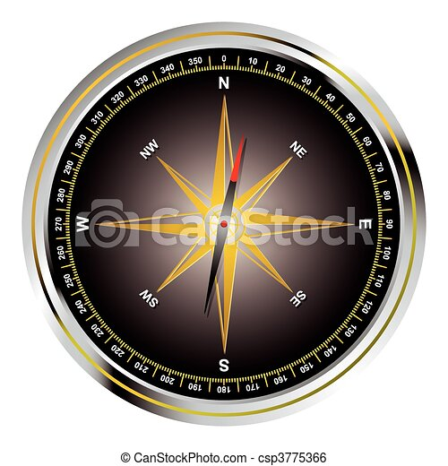 Black old fashioned compass - csp3775366