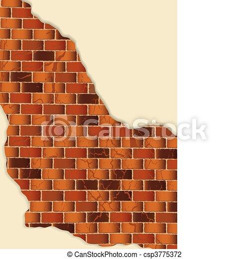 grunge brown brick wall plaster - csp3775372