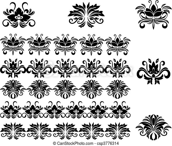 Flower patterns and borders - csp3776314