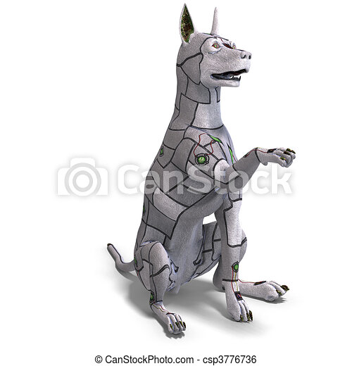 electronical scifi dog of the future. 3D rendering and shadow over white - csp3776736