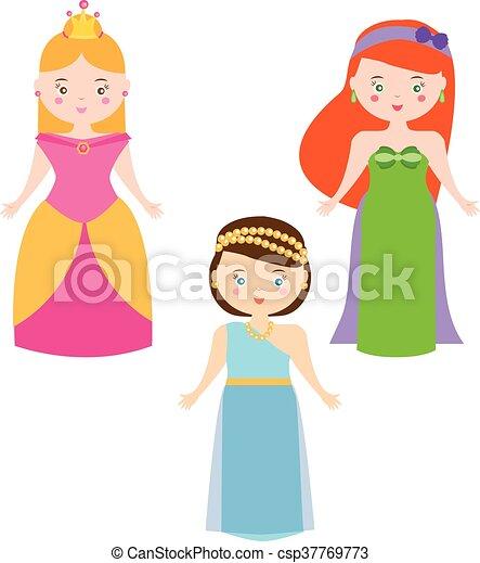 Three Vector Princesses in Cartoon Style. Queen characters vector set - csp37769773