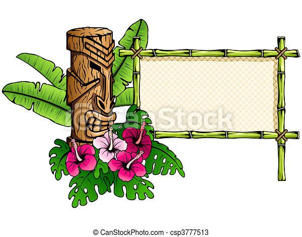 Detailed hawaiian banner with tiki - csp3777513
