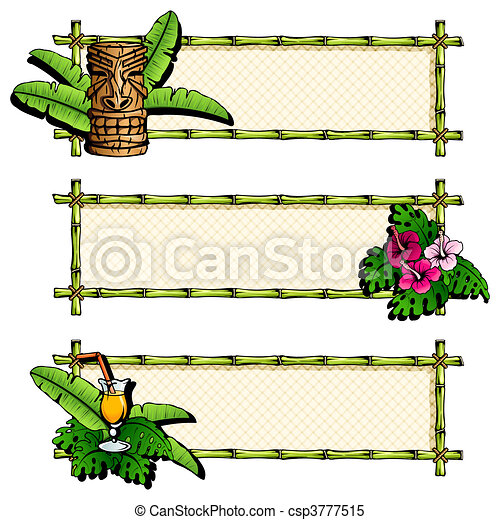 Colorful, detailed hawaiian banners - csp3777515