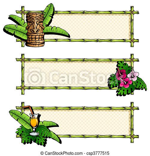Colorful, detailed hawaiian banners - csp3777515