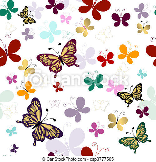 Seamless pattern with butterflies - csp3777565