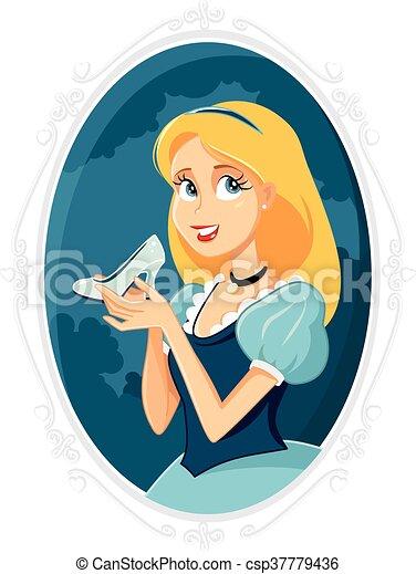 Priness Cinderella Holding Magic Shoe Vector Cartoon - csp37779436