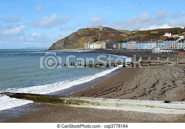 Aberystwyth seaside town North beach in Wales UK. - csp3778164