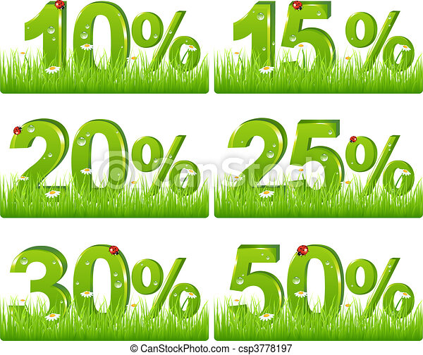 Green Discount Figures In Grass - csp3778197