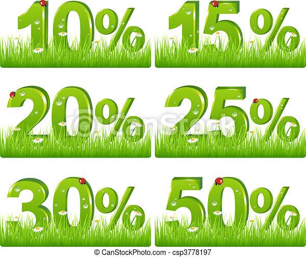 Green Discount Figures In Grass  - csp3778197