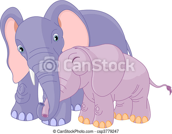 Father elephant and her calf - csp3779247