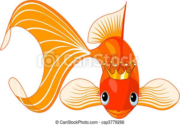 Clip art vecteur de poisson rouge reine dessin anim - Poisson dessin couleur ...