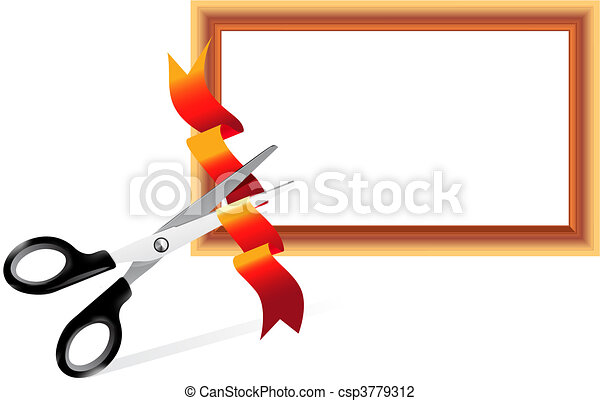 Scissors cutting ribbon  - csp3779312