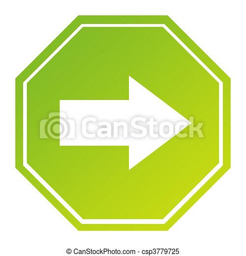 Hexagonal directional arrow sign - csp3779725