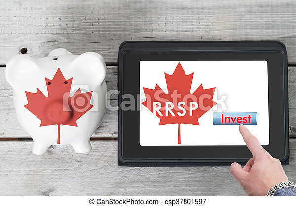 Canadian Registered Retirement Savings Plan concept with piggy bank and coins stacks - csp37801597