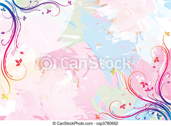 Watercolor floral background - csp3780662