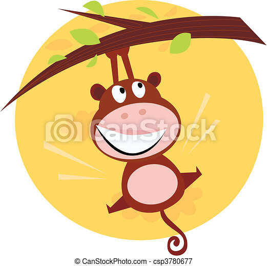 Brown cute monkey hanging from tree - csp3780677