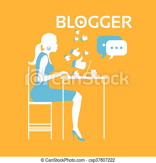 Vector Clip Art of Blogger Girl - Illustration Featuring a Female ...