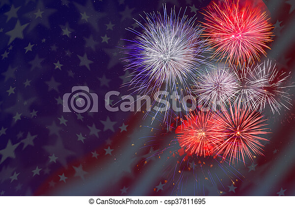 Celebration fireworks over American flag background. 4th of July beautiful fireworks. Independence Day holidays salute. Veterans Day fireworks.