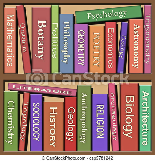 Clip Art Of Books Lots Of Books On Shelf Csp3781242
