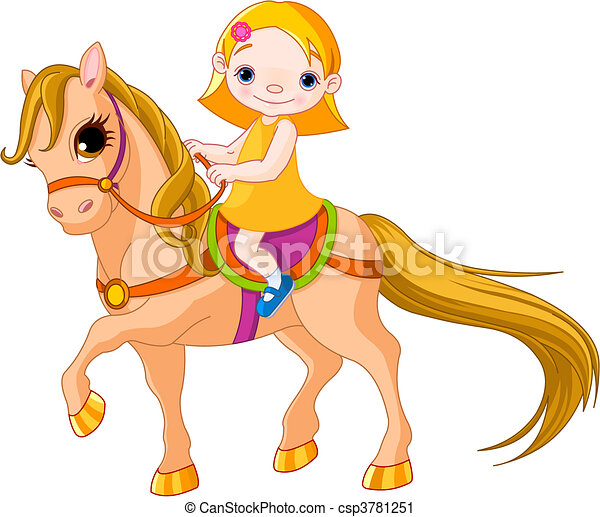 Girl on horse - csp3781251