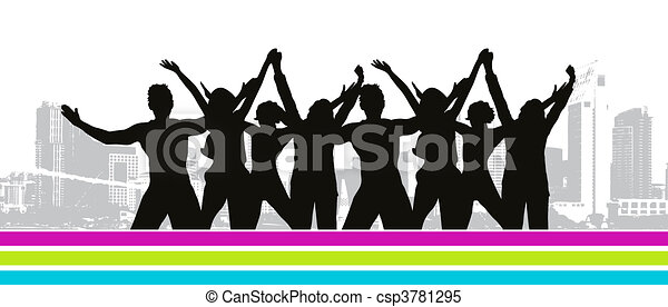 Funny peoples, cityscape - csp3781295