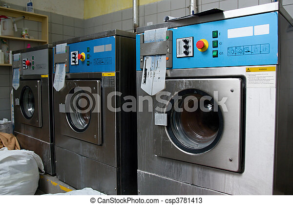 A row of industrial washing machines - csp3781413