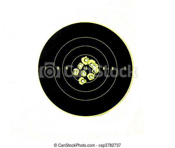 bullet holes in targets displaying precision shooting and demonstrating accuracy of firearm - csp3782737