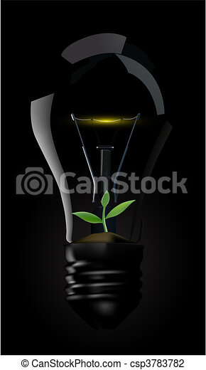 Light bulb whit green plant - csp3783782
