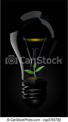 Light bulb whit green plant - csp3783782