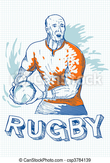 Rugby player running and passing ball with grid in the background. - csp3784139