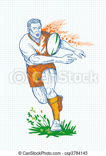 Rugby player running and passing ball with grid in the background. - csp3784143