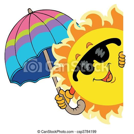 Lurking Sun with umbrella - csp3784199