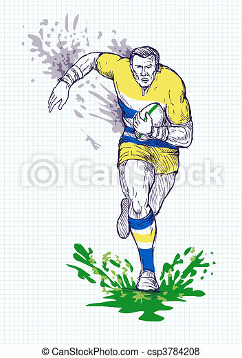 Rugby player running and passing ball with grid in the background. - csp3784208