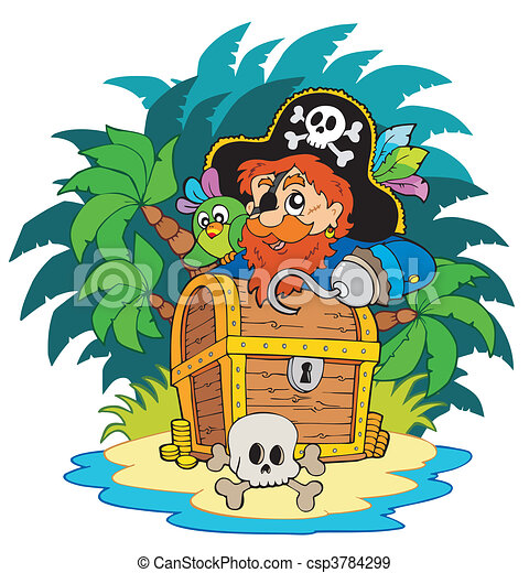 Small island and pirate with hook - csp3784299